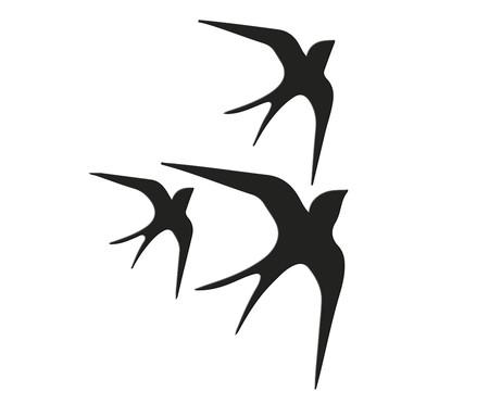 Placa de Madeira Decorativa Andorinhas - Preta | WestwingNow