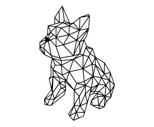 Placa de Madeira Decorativa Bulldog Geométrico - Preta, preto   WestwingNow