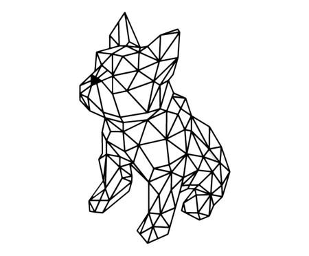 Placa de Madeira Decorativa Bulldog Geométrico - Preta | WestwingNow