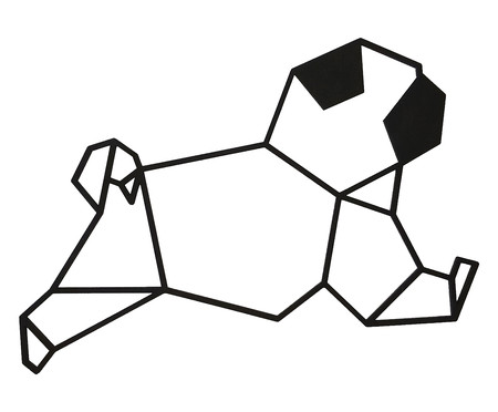 Placa de Madeira Decorativa Pug Geométrico  - Preta | WestwingNow