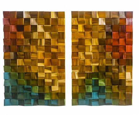Jogo de Quadros de Madeira 3D Antares Colorido - 90x140cm | WestwingNow