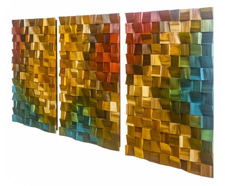Jogo de Quadros de Madeira 3D Zorck Colorido - 135x70cm | WestwingNow
