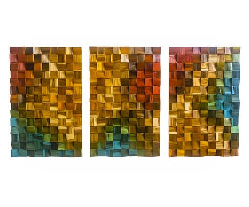 Jogo de Quadros de Madeira 3D Zorck Colorido - 135x70cm, multicolor | WestwingNow
