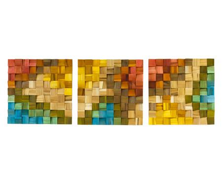Jogo de Quadros De Madeira 3D Alena Colorido - 135x45cm | WestwingNow