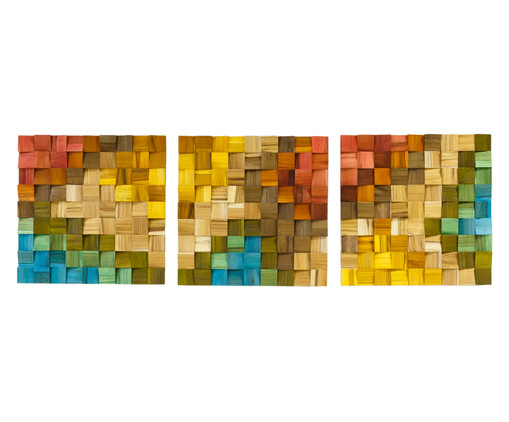 Quadros De Madeira 3D Alena - Colorido, multicolor | WestwingNow