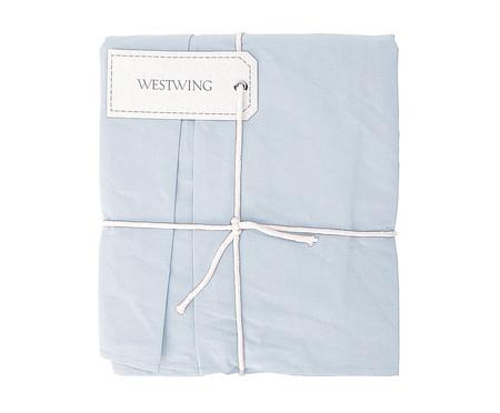Saia para Cama Box com Prega Lise Azul Algodão - 150 Fios | WestwingNow