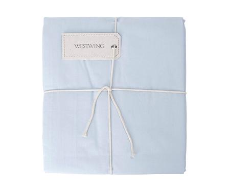 Lençol com Elástico Lise Azul Algodão - 150 Fios   WestwingNow