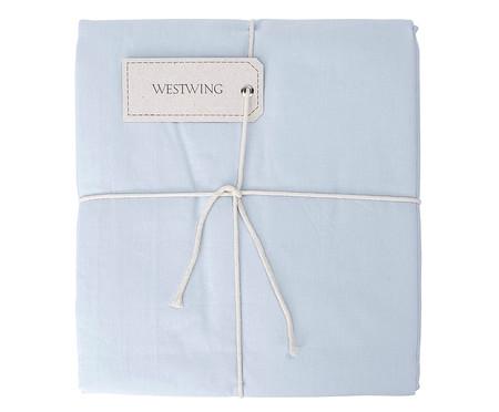 Lençol Superior Bordado Lise Azul Algodão - 150 Fios | WestwingNow