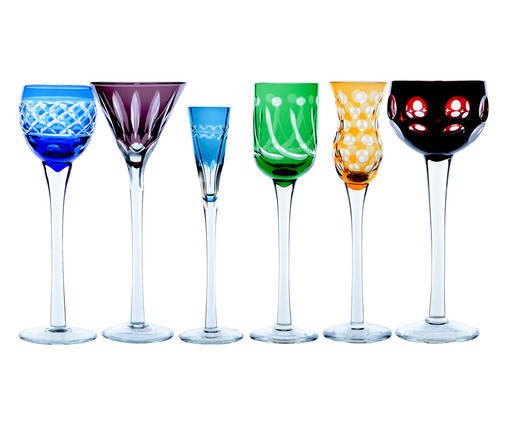 Jogo de Taças para Licor em Cristal Lapidadas - Colorido, Colorido | WestwingNow