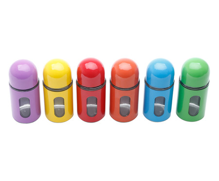 Jogo de Porta-Condimentos em Inox Rosy Colors | WestwingNow