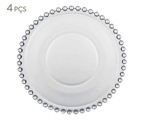 Jogo de Pratos para Sobremesa em Cristal Pearl - 04 Pessoas, Branco | WestwingNow