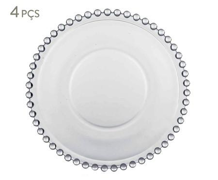 Jogo de Pratos para Sobremesa em Cristal Pearl - Transparente | WestwingNow