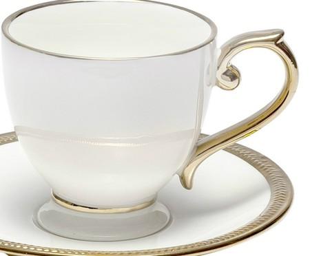 Jogo de Xícaras para Café com Pires em Porcelana Paddy 06 Pessoas - Branca | WestwingNow