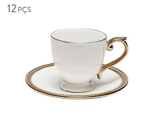 Jogo de Xícaras para Café com Pires em Porcelana Paddy 06 Pessoas - Branca, Branco e Dourado | WestwingNow