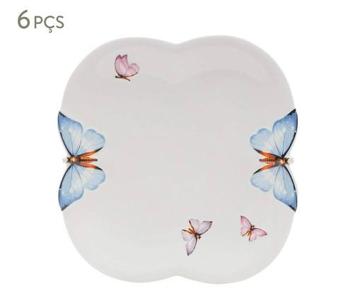Jogo de Pratos Rasos em Porcelana Borboletas 06 Pessoas - Branco, Branco | WestwingNow