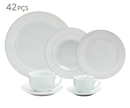 Jogo de Jantar em Porcelana Marrocos Prateado - 06 Pessoas, Branco   WestwingNow