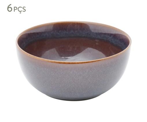 Jogo de Bowls em Porcelana Reactive Glaze Azul e Marrom - 06 Pessoas, Marrom | WestwingNow