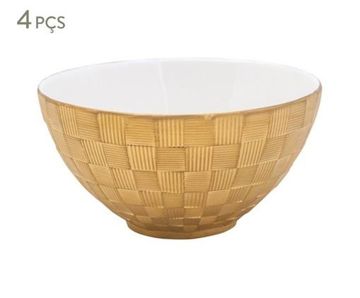Jogo de Bowls em Porcelana Vera - Dourado, Branco | WestwingNow
