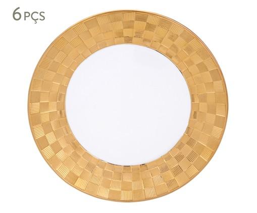 Jogo de Pratos para Sobremesa em Porcelana Vera 06 Pessoas - Branco e Dourado, Branco | WestwingNow
