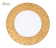 Jogo de Pratos para Sobremesa em Porcelana Vera 06 Pessoas - Branco e Dourado | WestwingNow