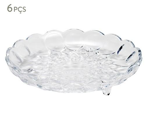 Jogo de Pratos para Sobremesa com Pé em Cristal Angélica - 06 Pessoas, Transparente | WestwingNow