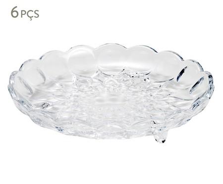 Jogo de Pratos para Sobremesa com Pé em Cristal Angélica - 06 Pessoas | WestwingNow