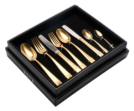 Faqueiro em Inox Pisa Dourado - 06 Pessoas | WestwingNow