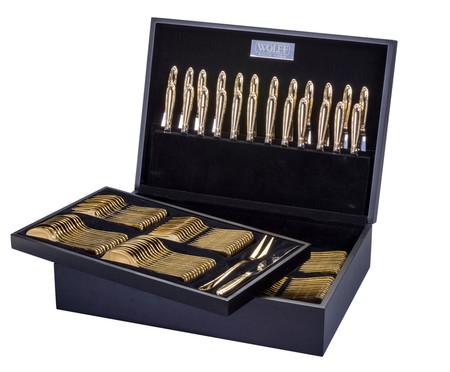 Faqueiro em Inox e Prata Berna Dourado Escuro - 12 Pessoas | WestwingNow