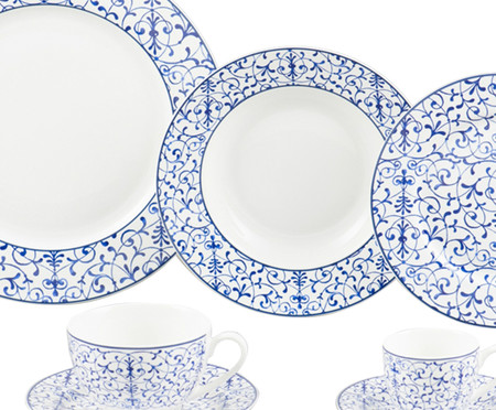 Jogo de Jantar em Porcelana Super White Abstract - 06 Pessoas | WestwingNow