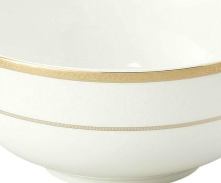 Jogo de Bowls em Porcelana Relevo Branco e Dourado - 06 Pessoas | WestwingNow