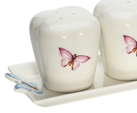 Jogo de Saleiro e Pimenteiro em Porcelana Borboleta - Branco | WestwingNow