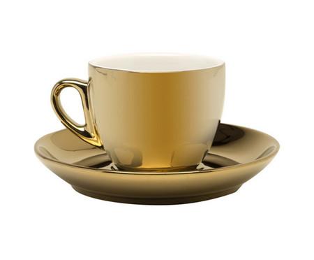 Jogo de Xícaras e Pires para Café em Porcelana Flora - Dourado | WestwingNow