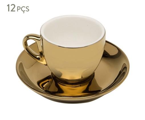 Jogo de Xícaras e Pires para Café em Porcelana Flora - Dourado, Dourado   WestwingNow