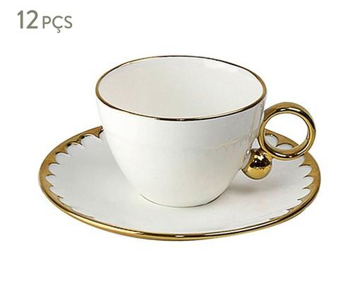 Jogo de Xícaras para Chá em Porcelana Egg 06 Pessoas - Branco e Dourado, BrancoeDourado | WestwingNow