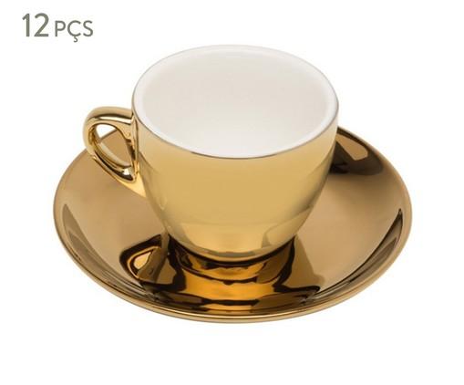Jogo de Xícaras para Chá em Porcelana Nina 06 Pessoas - Dourado, Dourado | WestwingNow
