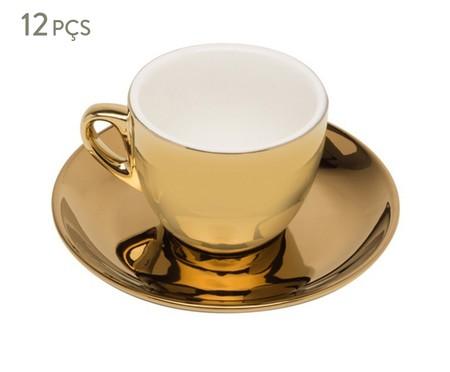 Jogo de Xícaras para Chá em Porcelana Nina 06 Pessoas - Dourado | WestwingNow