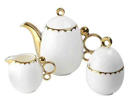 Jogo para Servir Café em Porcelana York - Branco e Dourado | WestwingNow