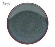 Jogo de Pratos para Sobremesa em Porcelana Reactive Glaze - Azul | WestwingNow