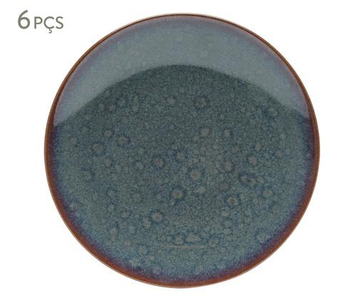 Jogo de Pratos para Sobremesa em Porcelana Reactive Glaze - 06 Pessoas, Azul   WestwingNow