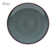 Jogo de Pratos Rasos em Porcelana Reactive Glaze 6 Pessoas - Azul | WestwingNow