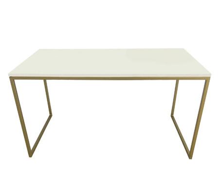 Escrivaninha de Madeira e Ferro Casual - Branca e Dourado | WestwingNow