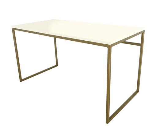 Escrivaninha de Madeira e Ferro Casual - Branca e Dourado, branco,dourado | WestwingNow