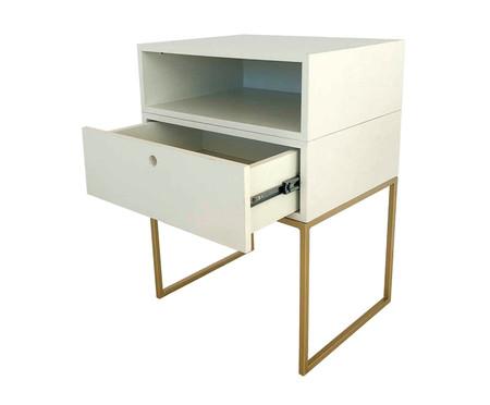 Mesa de Cabeceira com Gaveta e Nicho Casual - Branco e Dourado | WestwingNow