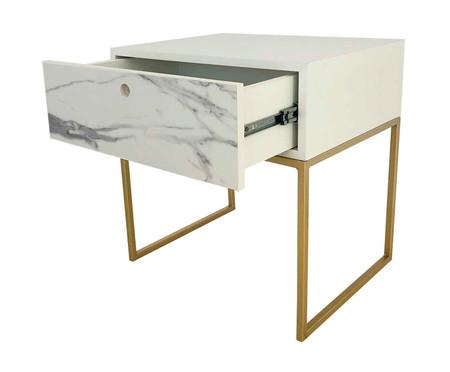 Mesa de Cabeceira Com Gaveta Casual - Marmorizado e Dourado | WestwingNow