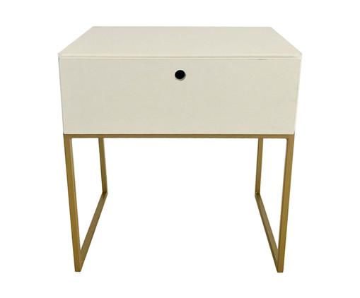 Mesa de Cabeceira Com Gaveta Casual - Branca e Dourado, branco,dourado | WestwingNow