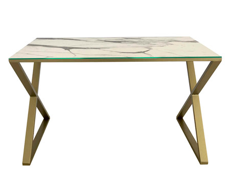 Escrivaninha de Vidro Xis - Marmorizado e Dourado | WestwingNow