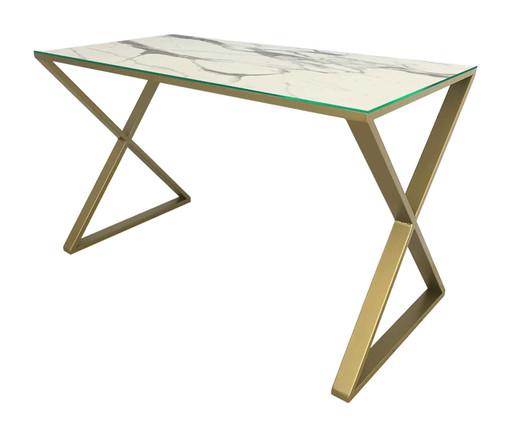 Escrivaninha Xis - Marmorizado e Dourado, branco,dourado | WestwingNow