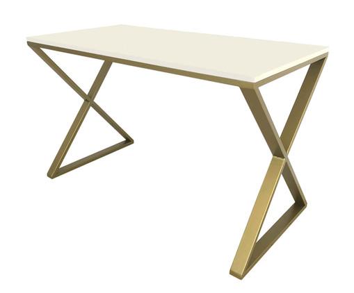 Escrivaninha Xis - Branca e Dourada, branco,dourado | WestwingNow