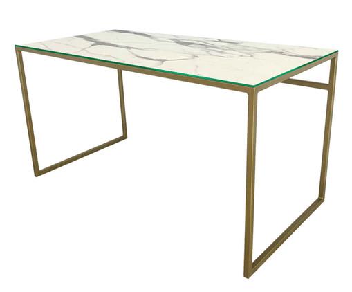 Escrivaninha de Vidro e Ferro Casual - Marmorizada e Dourada, branco,dourado | WestwingNow