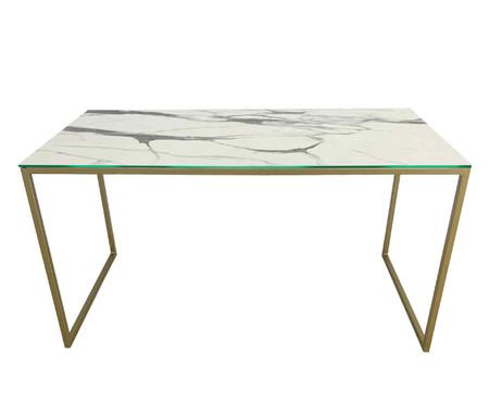 Escrivaninha de Vidro e Ferro Casual - Marmorizada e Dourada | WestwingNow